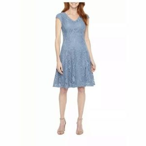 Liz Claiborne Fit And Flare Blue Dress Size 16 NWT
